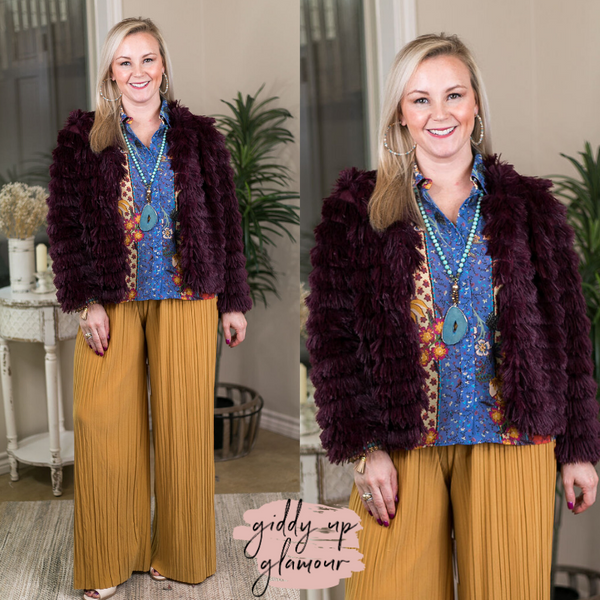 All Shook Up Fuzzy Faux Fur Jacket in Maroon