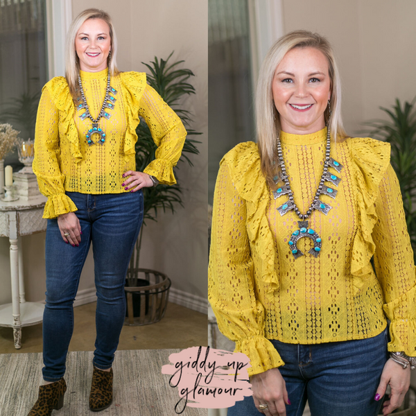 Polished and Poised High Neck Lace Top with Lace Frills in Mustard Yellow