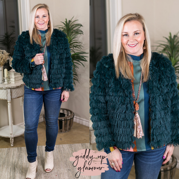 All Shook Up Fuzzy Faux Fur Jacket in Peacock Teal Blue