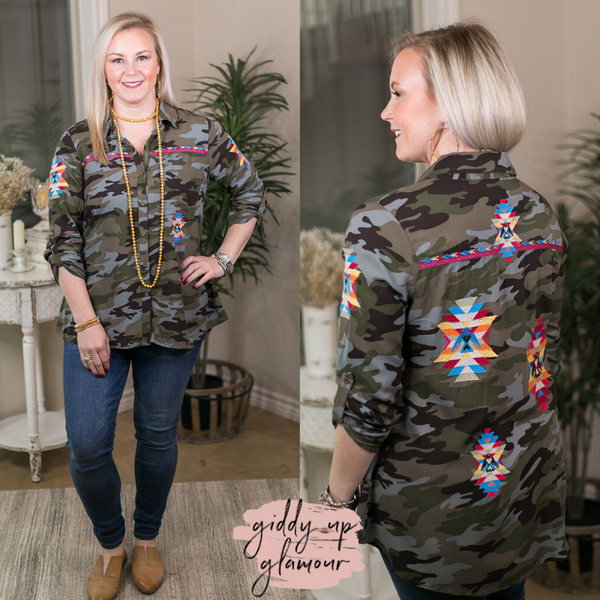 All The Attitude Camouflage Button Up Top with Aztec Embroidery