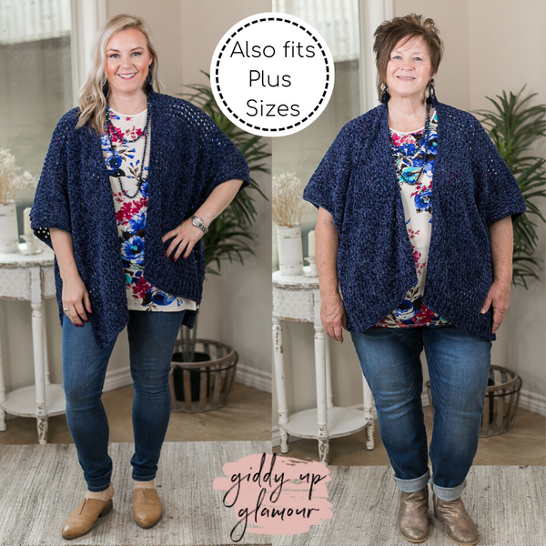 Warm Around You Chenille Kimono Cover Up in Navy Blue