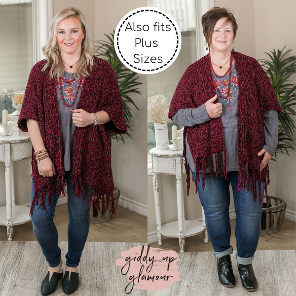 Obsession Confession Chenille Kimono Cover Up with Fringe Edges in Maroon