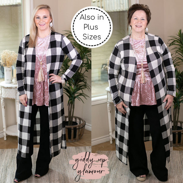 Can't Let Go Buffalo Plaid Long Duster Cardigan in Black & White