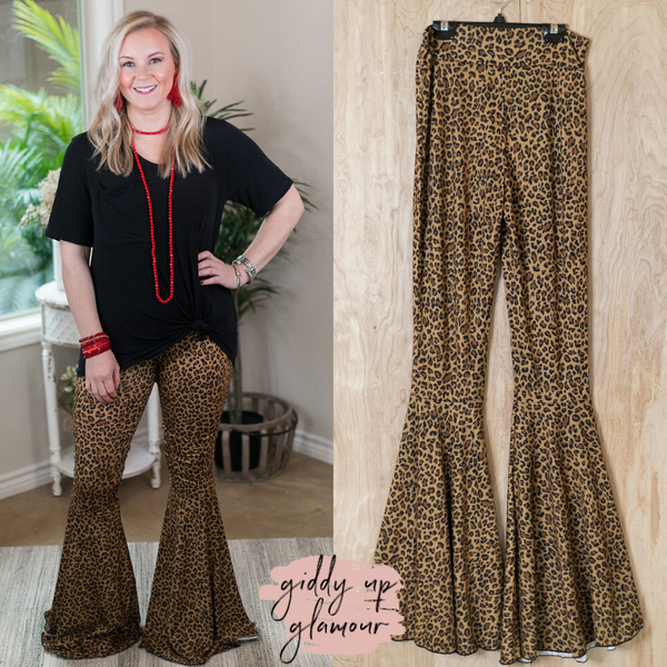 Act Wildly Flare Bell Bottom Pants in Leopard