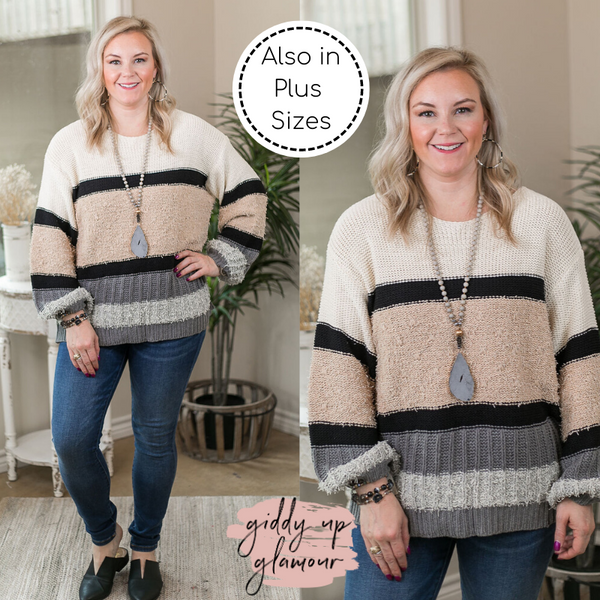 In Her Elements Multi Color Mixed Fabric Pullover Sweater in Grey & Taupe