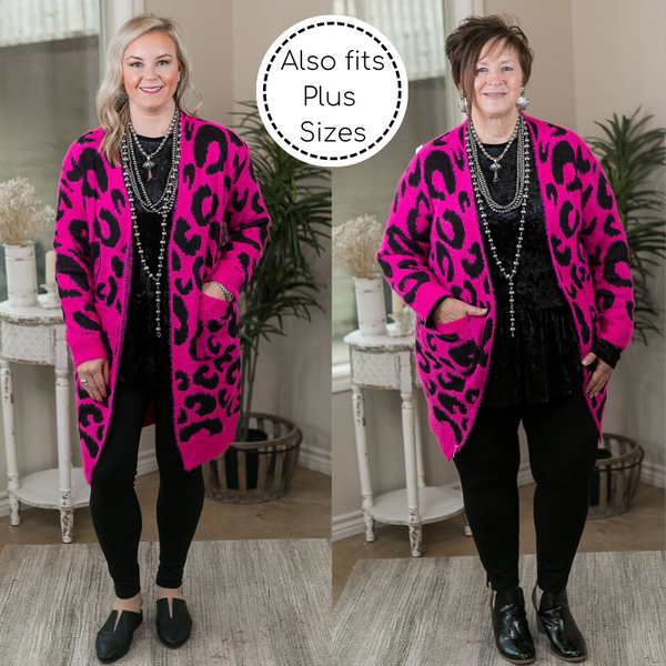 On The Prowl Leopard Print Long Sleeve Eyelash Cardigan in Hot Pink