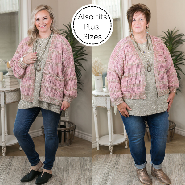 Time To Twinkle Sparkling Chenille Cardigan with Tinsel Detailing in Blush Pink