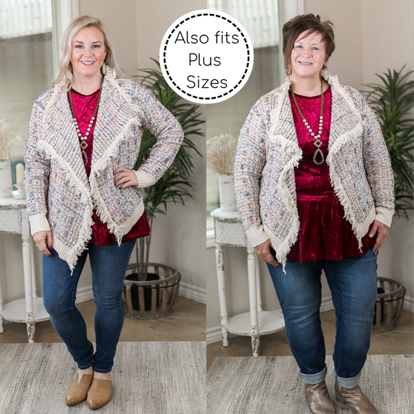 How To Dazzle Fringe Trim Tinsel Tweed Cardigan Jacket in Ivory