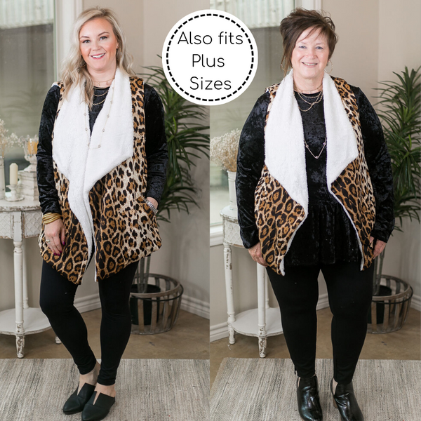 Keeping Things Cozy Sherpa Lined Sweater Vest in Leopard