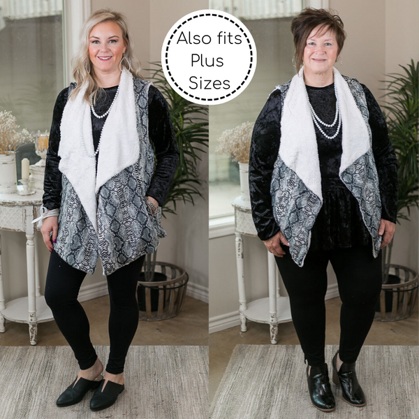 Keeping Things Cozy Sherpa Lined Snakeskin Sweater Vest in Black