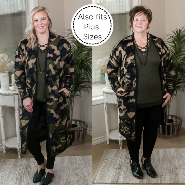 Warm Regards Print Long Sleeve Eyelash Cardigan in Camouflage