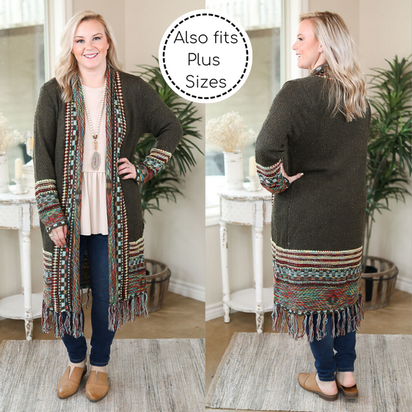 Got This Feeling Multi Colored Tribal Trim Cardigan in Olive Green