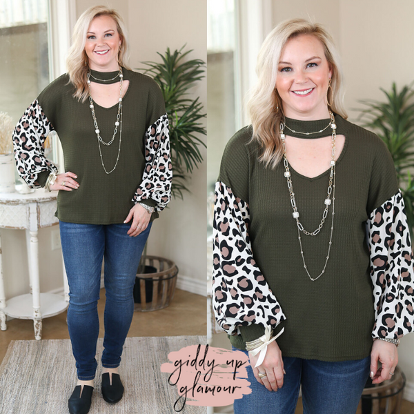 Another Love Story Waffle Knit Top with Leopard Print Puff Sleeves and Keyhole Cutout in Olive Green