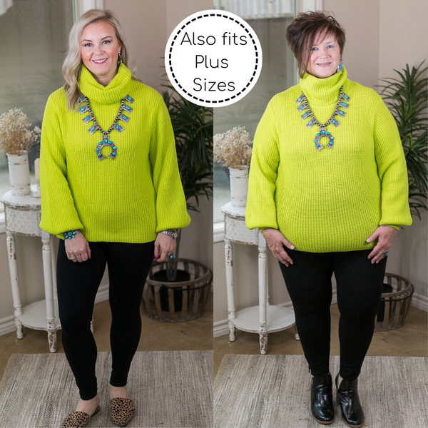 Take It As It Comes Neon Over Sized Knit Turtleneck Pullover Sweater in Yellow Lime