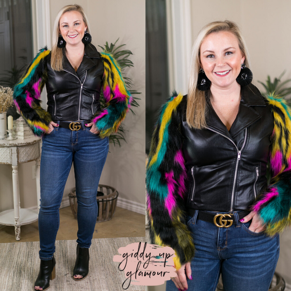 Throwback and Smile Black Faux Leather Zip Up Jacket with Multi Color Fur Sleeves