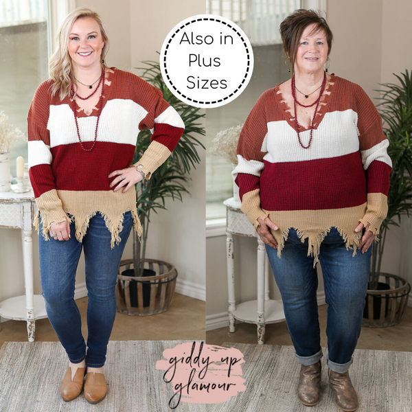 State the Facts Rugby Stripe Pullover Cardigan with Tattered Edges in Maroon