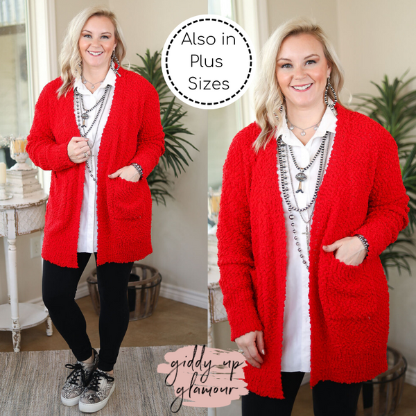 Feel At Home Soft Popcorn Cardigan in Red
