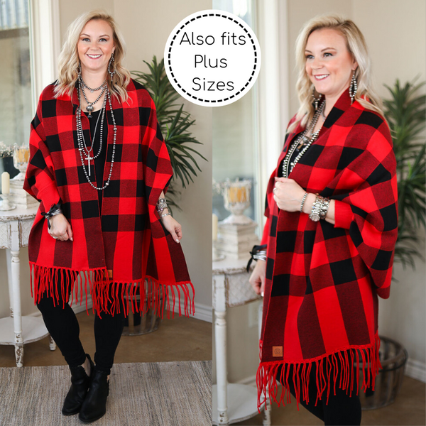Through Union Station Buffalo Plaid Sweater Shawl with Tassel Edges in Red