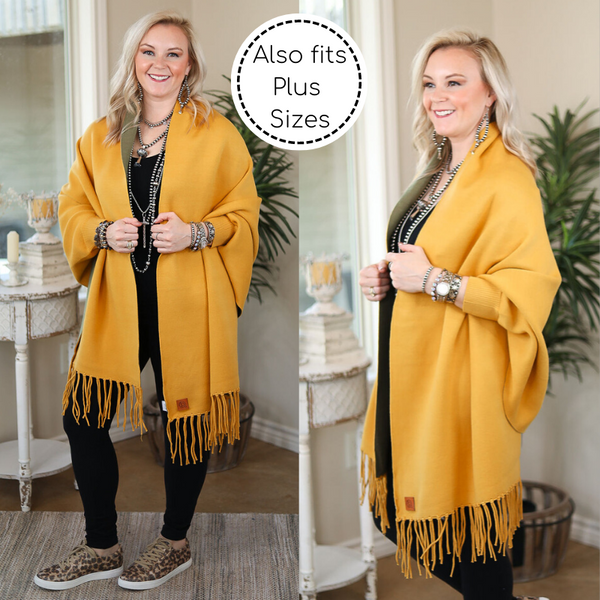 Through Central Park Reversible Solid Sweater Shawl with Tassel Edges in Mustard Yellow & Olive Green