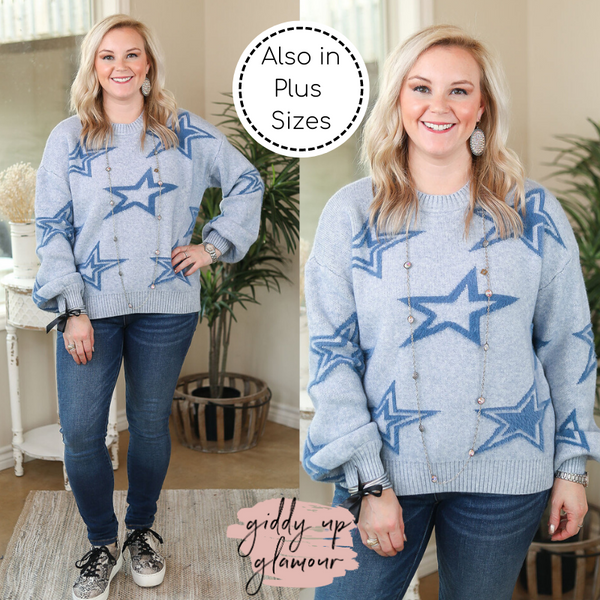 Now Starring Super Soft Star Print Pullover Sweater in Light Blue