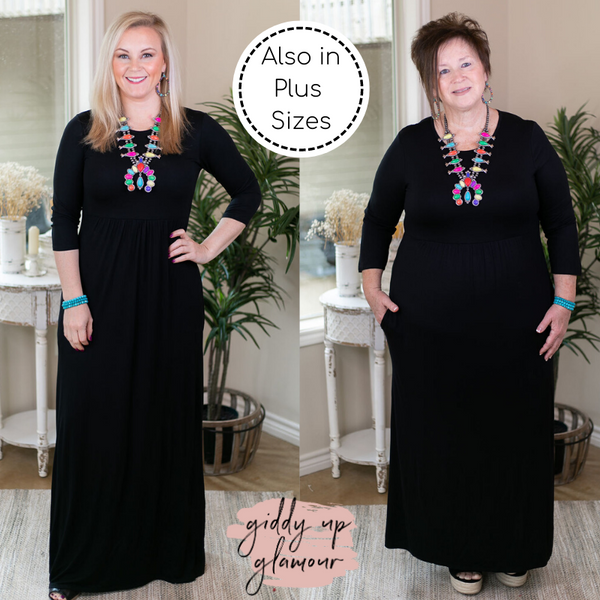 Picture Perfect Solid Maxi Dress in Black