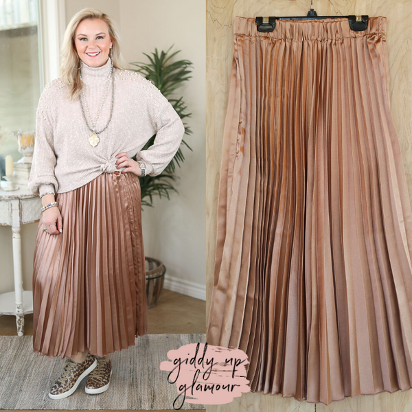 Center of Attention Metallic Pleated Midi Skirt in Mocha Brown