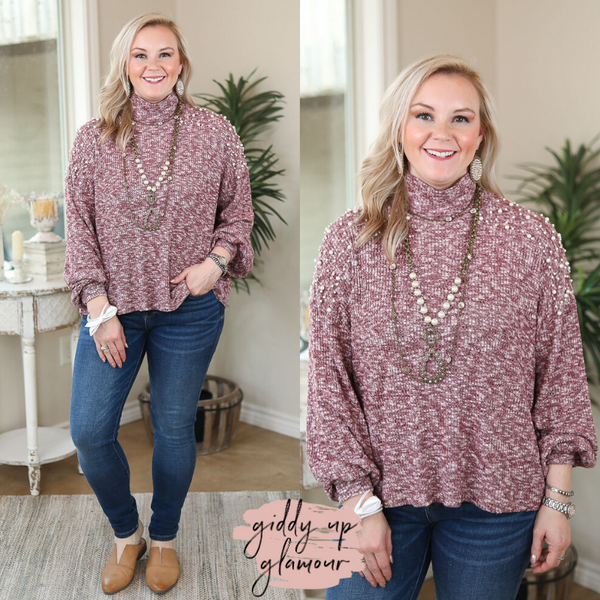 First Class Lady Brushed Knit Sweater Top with Pearl Details on the Shoulders in Maroon