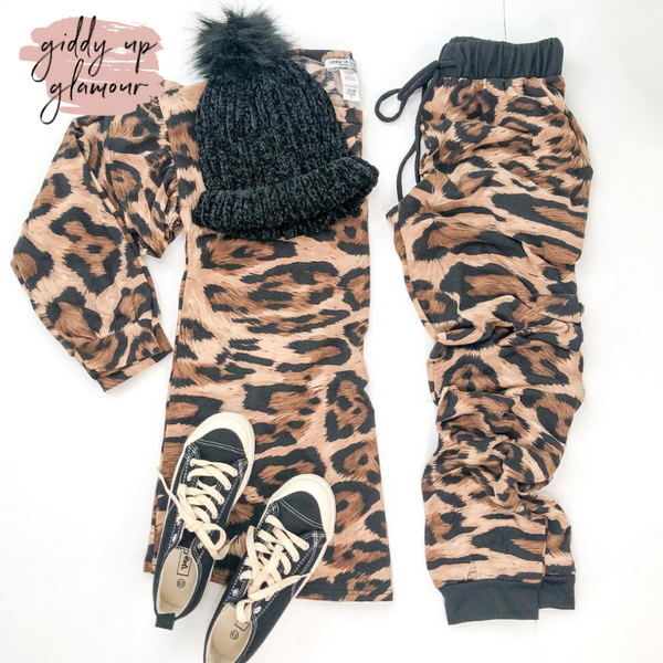 Cozy and Cool Leopard Print Jogger Pants with Drawstring Waist