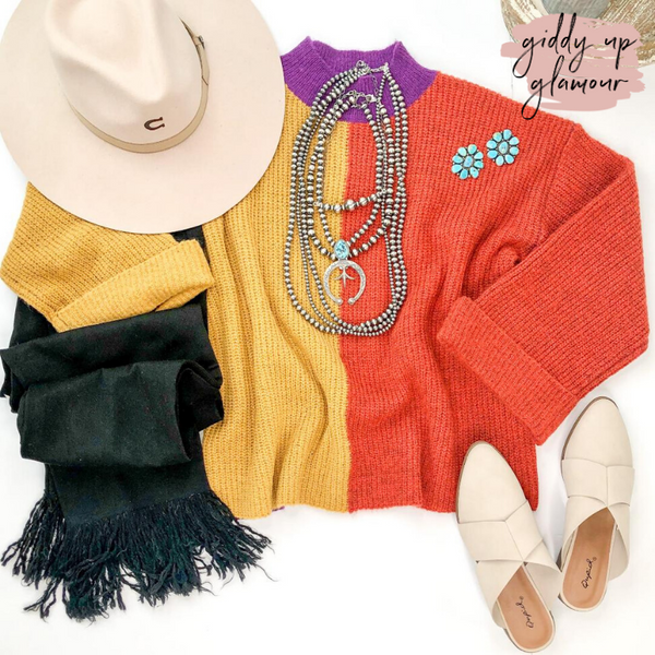 Just Ask High Neck Color Block Sweater in Purple, Mustard Yellow & Rust Orange