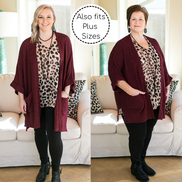 Warm Their Hearts Knit Cardigan with Pockets in Maroon