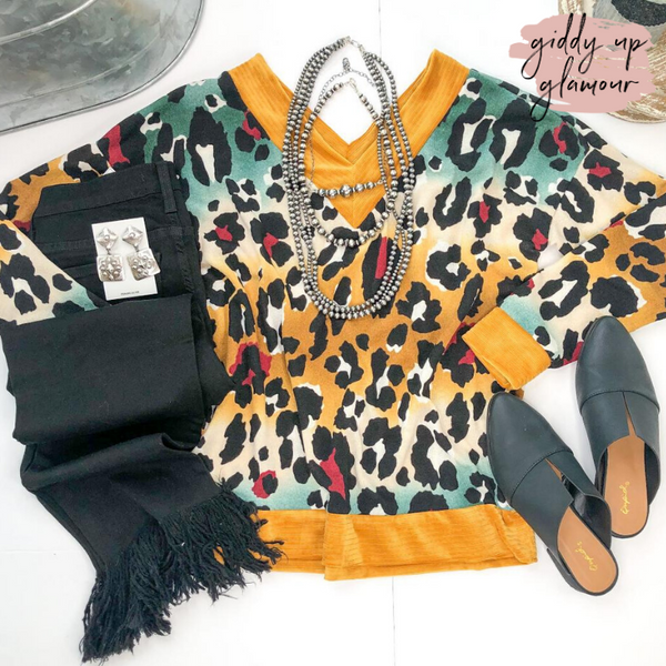 Clever Girl Multi Color Leopard Print Sweater with Velvet Trim in Mustard Yellow
