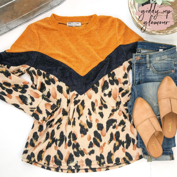 Live Fast Leopard Print Color Block Knit Sweater in Mustard Yellow