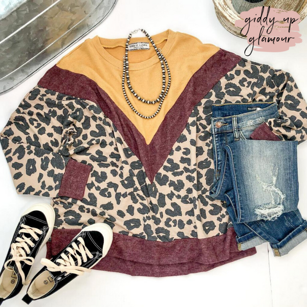 Love Hard Leopard Print Color Block Pullover Top in Mustard Yellow & Maroon