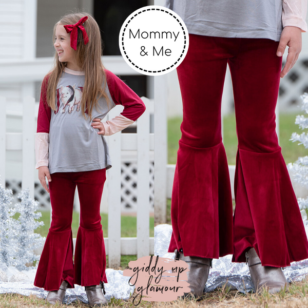 Children's | Groovy Girl Velvet Bell Bottom Flare Pants in Maroon