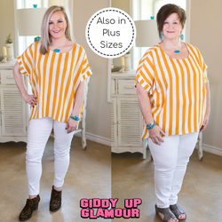 Women's trendy plus size boutique clothing stripe striped stripes mustard yellow shirt top blouse affordable umgee