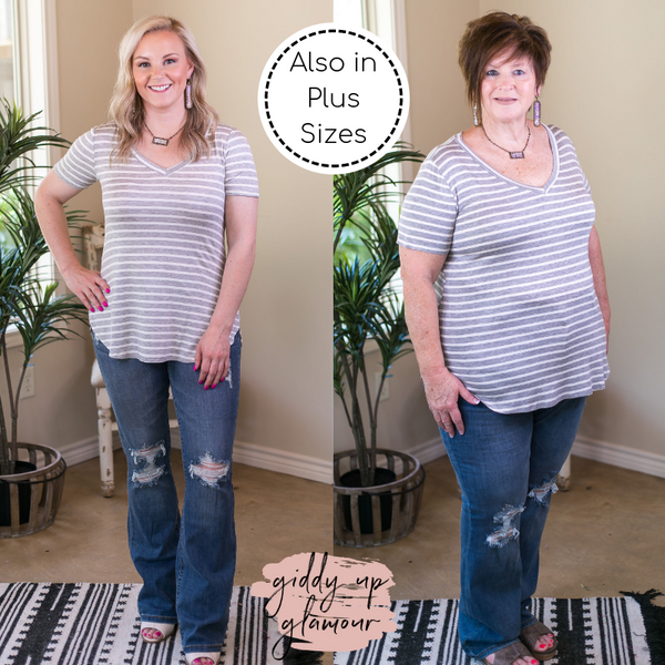 DAMAGED | SIZE 2XL Simply The Best Striped V Neck Short Sleeve Tee Shirt in Heather Grey