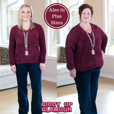 Cozy Content V Neck Knit Chenille Sweater in Maroon