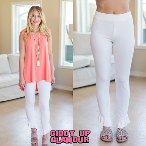 Life's A Party Leggings with Ruffled Hemline in White