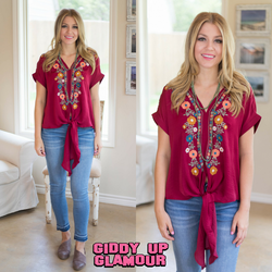 Think It Through Floral Embroidery Tie Top in Maroon