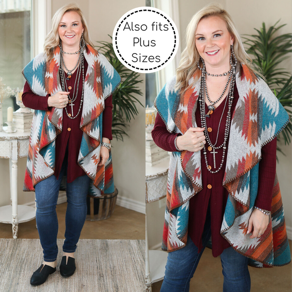 Warm Out West Aztec Blanket Vest in Turquoise and Orange