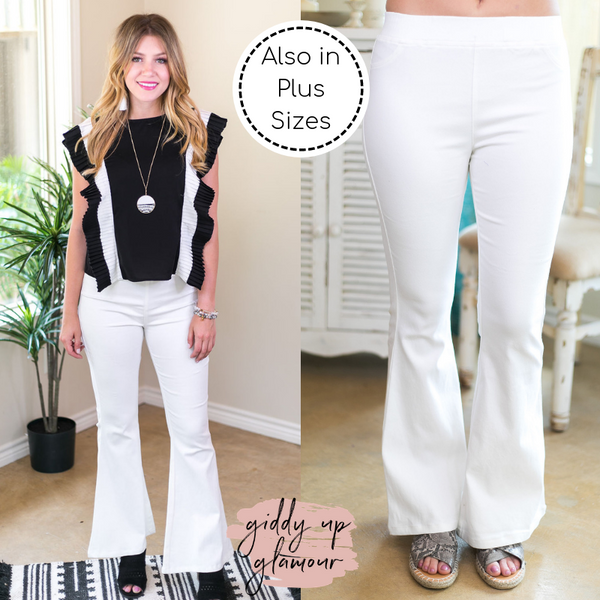 Around Again Flare Bell Bottom Pants with Elastic Waistband in Off White