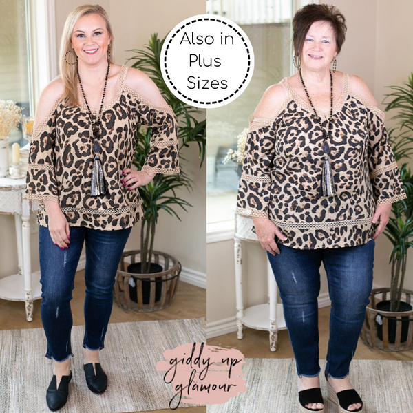 Beautiful Words Cold Shoulder Blouse with Crocheted Trim in Leopard