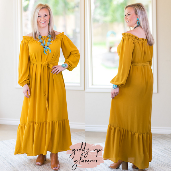Flying Tomato Fierce Heart Trendy affordable college girl bohemian funky off the shoulder solid maxi ruffle dress mustard yellow