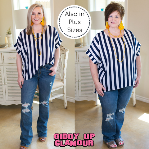 Call All The Shots Stripe Top in Navy Blue