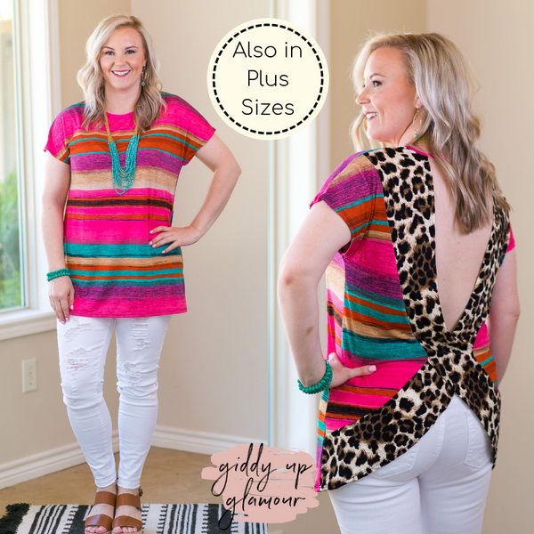 Got Your Back Stripe Short Sleeve Top with Leopard Print Open Back trendy boutique missy plus size curvy girl fashions leopard cheetah serape