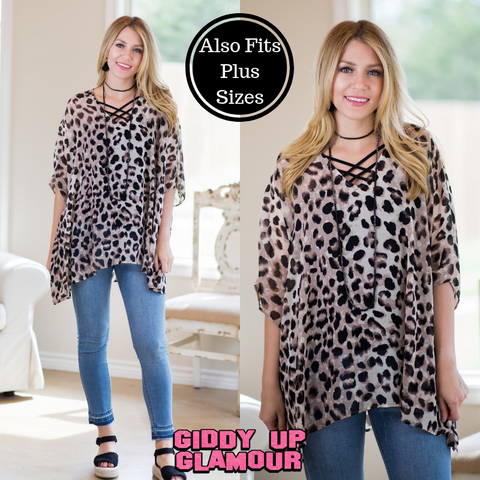 Sure Thing Sheer Oversized Poncho Top in Leopard