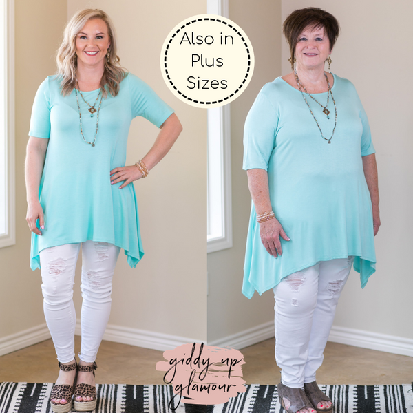 Whenever This Happens Solid Handkerchief Tunic Top in Mint