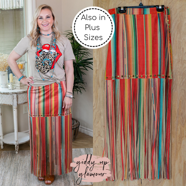 Band Of Gypsies Serape Mini Skirt with Long Fringe Trim