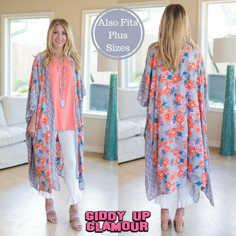 See It All Floral Printed Duster in Grey with Orange Accents
