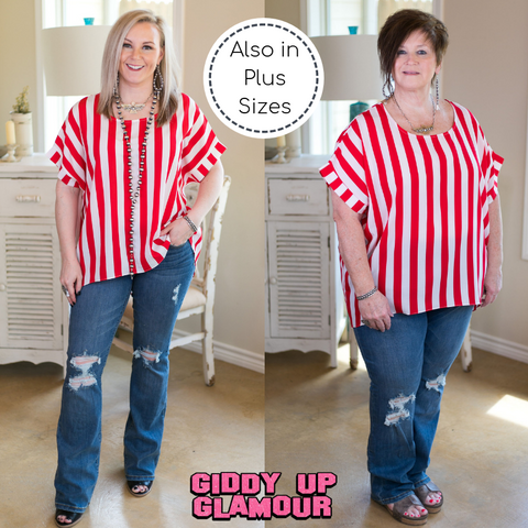 Call All The Shots Stripe Top in Red